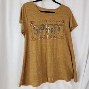 Style & Co Free Spirit Tee brown short sleeve